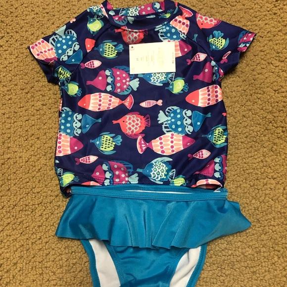 NWT Gymboree Toddler Girls Swimsuit Short Sleeve Rashguard Bikini Fish Size 2T